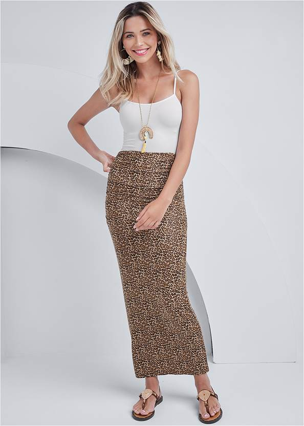 Gathered Waist Long Skirt,Basic Cami Two Pack,Shell Earrings,Shell Detail Long Necklace,Ring Handle Straw Tote