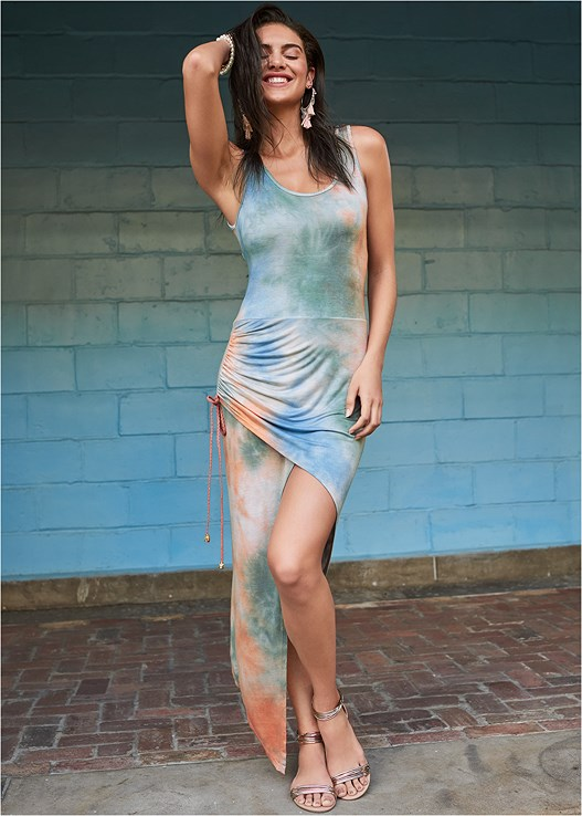 TIE DYE HIGH LOW DRESS,PUSH UP BRA BUY 2 FOR $40,METALLIC STRAP SANDALS,EMBELLISHED GLADIATORS,TASSEL DETAIL HOOP EARRINGS,OVERSIZED TASSEL EARRINGS