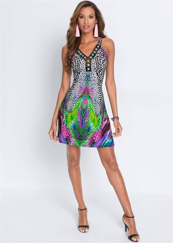 Embellished Printed Dress,Ankle Strap Heels,Oversized Fringe Earrings,Raffia Detail Bag