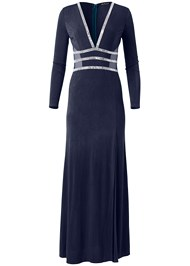 Alternate View Embellished Trim Long Dress