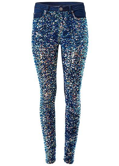 Plus Size Sequin Velvet Skinny Jeans