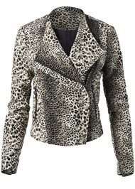 Alternate View Leopard Print Moto Jacket