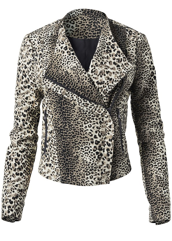 Leopard Print Moto Jacket,Mid Rise Color Skinny Jeans,Studded Over The Knee Boots