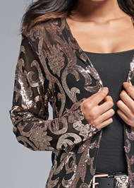 Detail front view Sequin Mesh Long Jacket