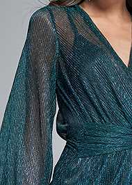 Detail front view Shimmer Faux Wrap Dress