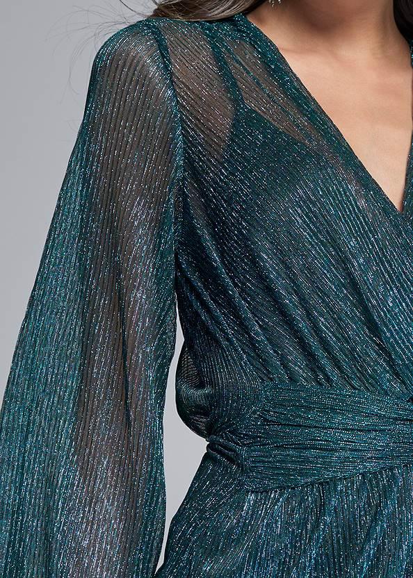 Detail front view Shimmer Faux Wrap Dress