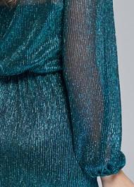Detail back view Shimmer Faux Wrap Dress