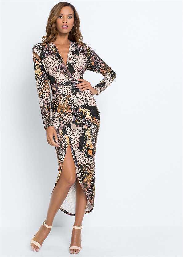 Printed High Slit Dress,Cupid U Plunge Bra,Ankle Strap Heels