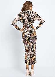 Full back view Printed High Slit Dress