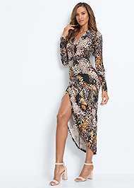 Alternate View Printed High Slit Dress