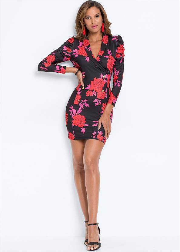 Full front view Puff Shoulder Printed Dress