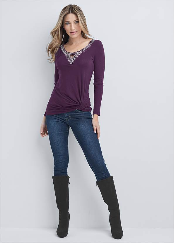 Full front view Embellished Knot Detail Top