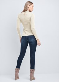 Full back view Grommet Mock Neck Top