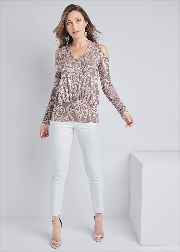 Full front view Shimmer Paisley Top