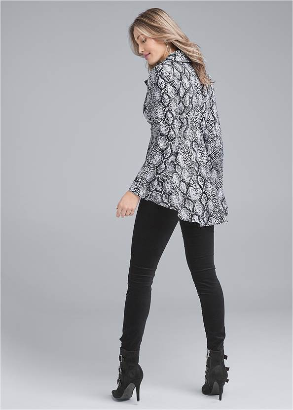 Back View High Low Snake Print Jacket