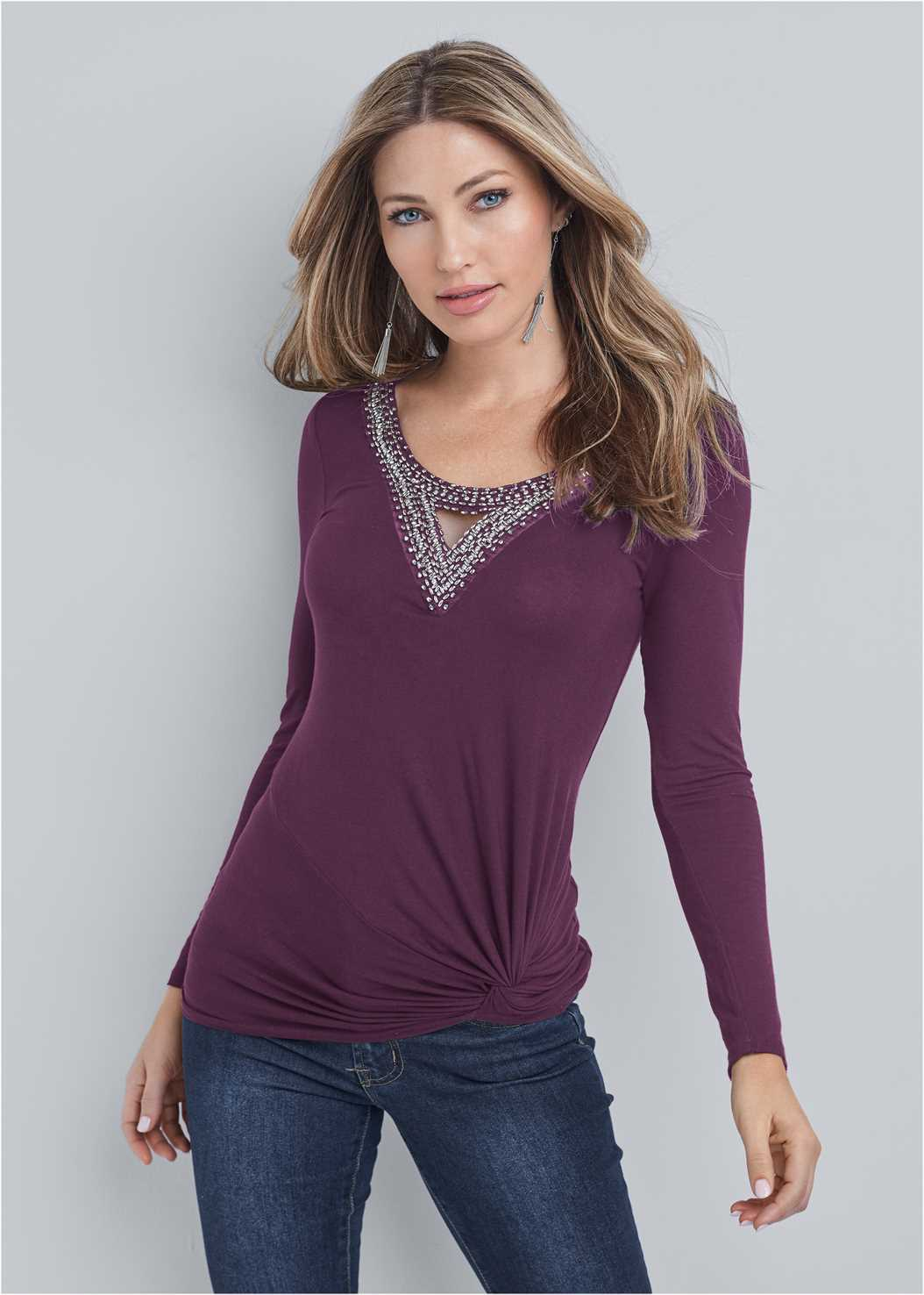 Embellished Knot Detail Top,Mid Rise Color Skinny Jeans,Seamless Unlined Bra,Slouchy Mid-Calf Boot