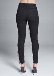 Back View Sequin Fringe Skinny Jeans