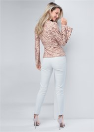 Back View Burnout Velvet Wrap Top