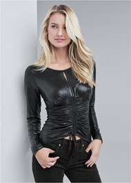 Front View Faux Leather Ruched Top