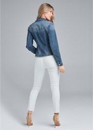 Back View Distressed Faux Pearl Denim Jacket