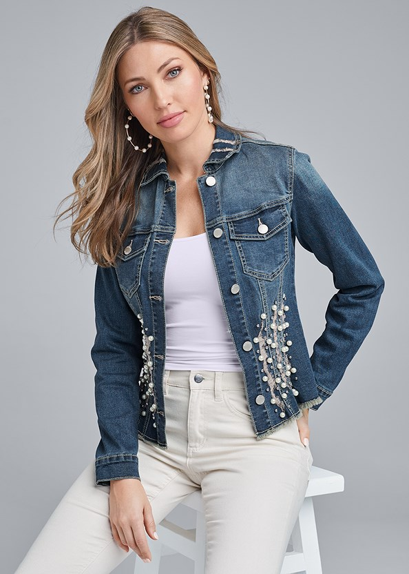 Distressed Faux Pearl Denim Jacket,Basic Cami Two Pack,Lace Cami,Mid Rise Color Skinny Jeans,Strapless Bra With Geo Lace,High Heel Strappy Sandals