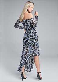 Back View Off Shoulder Floral Dress