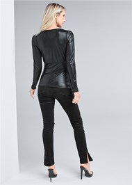 Full back view Faux Leather Ruched Top
