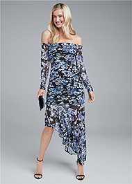 Full Front View Off Shoulder Floral Dress