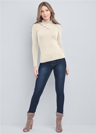 Full front view Grommet Mock Neck Top