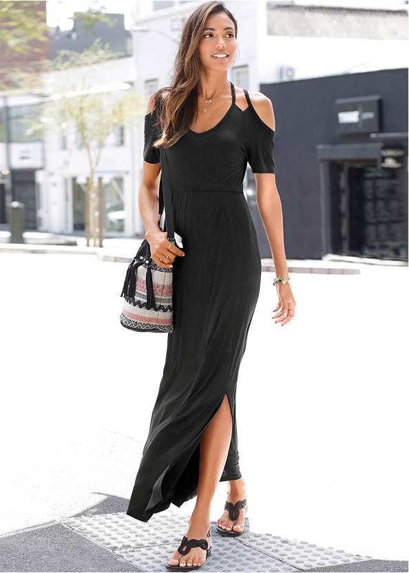 Cold Shoulder Maxi Dress,Embellished Sandals,Etched Boho Hoop Earrings,Fringe Detail Bag