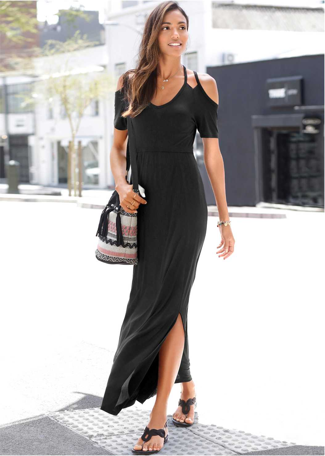 Cold Shoulder Maxi Dress,Strapless Bra,Rhinestone Thong Sandal,Sequin Straw Crossbody Bag