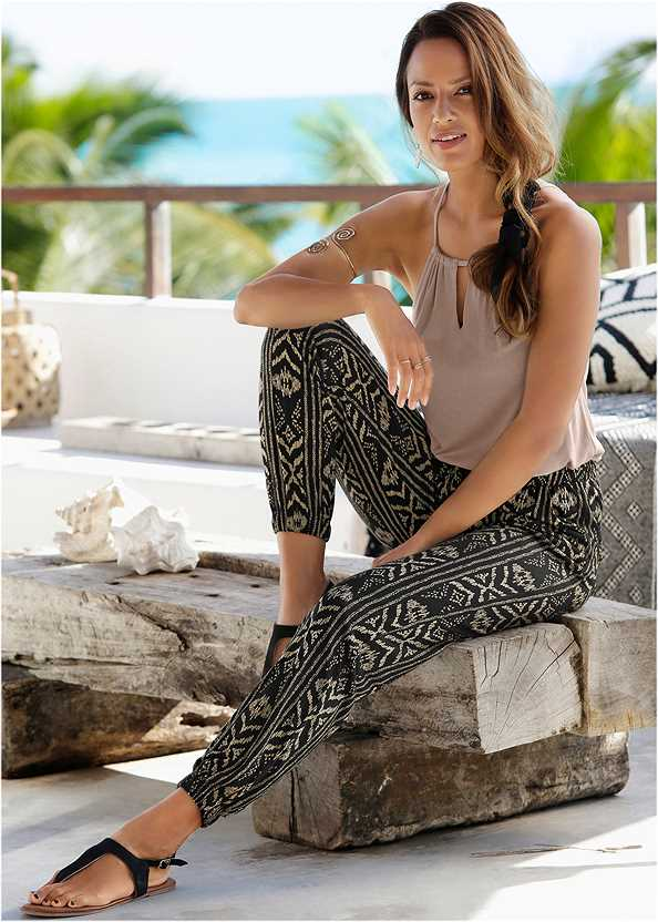 Printed Jogger Pants,Square Neck Tank Top,Beaded Dreamcatcher Earrings