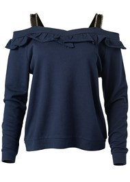 Ghost with background  view Ruffle Detail Sweatshirt