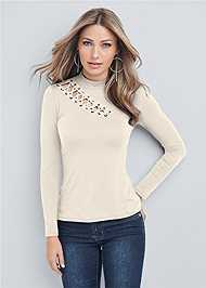 Cropped front view Grommet Mock Neck Top