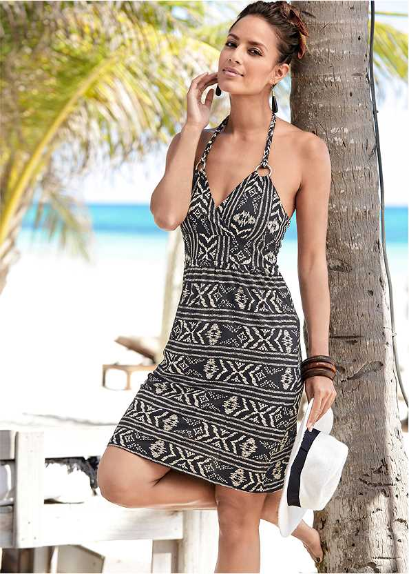 Printed Halter Tie Dress,Beaded Fringe Medallion Earrings