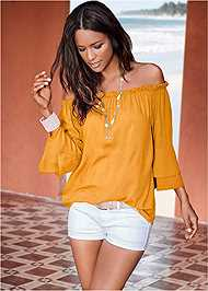 Front View Tiered Sleeve Top