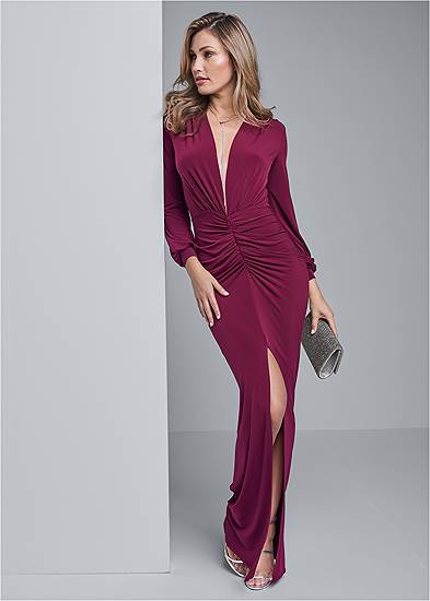 Deep Plunge Long Dress