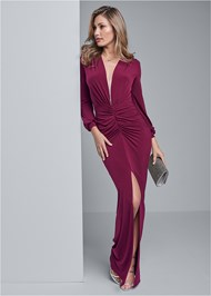 Front View Deep Plunge Long Dress