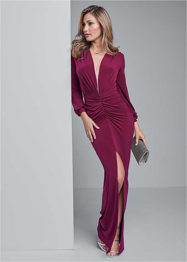 Deep Plunge Long Dress,High Heel Strappy Sandals,Rhinestone Clutch