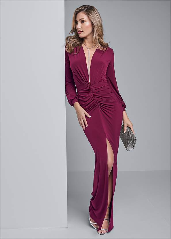 Deep Plunge Long Dress,Rhinestone Clutch