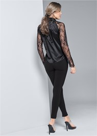 Full back view Lace Sleeve Tie Neck Blouse