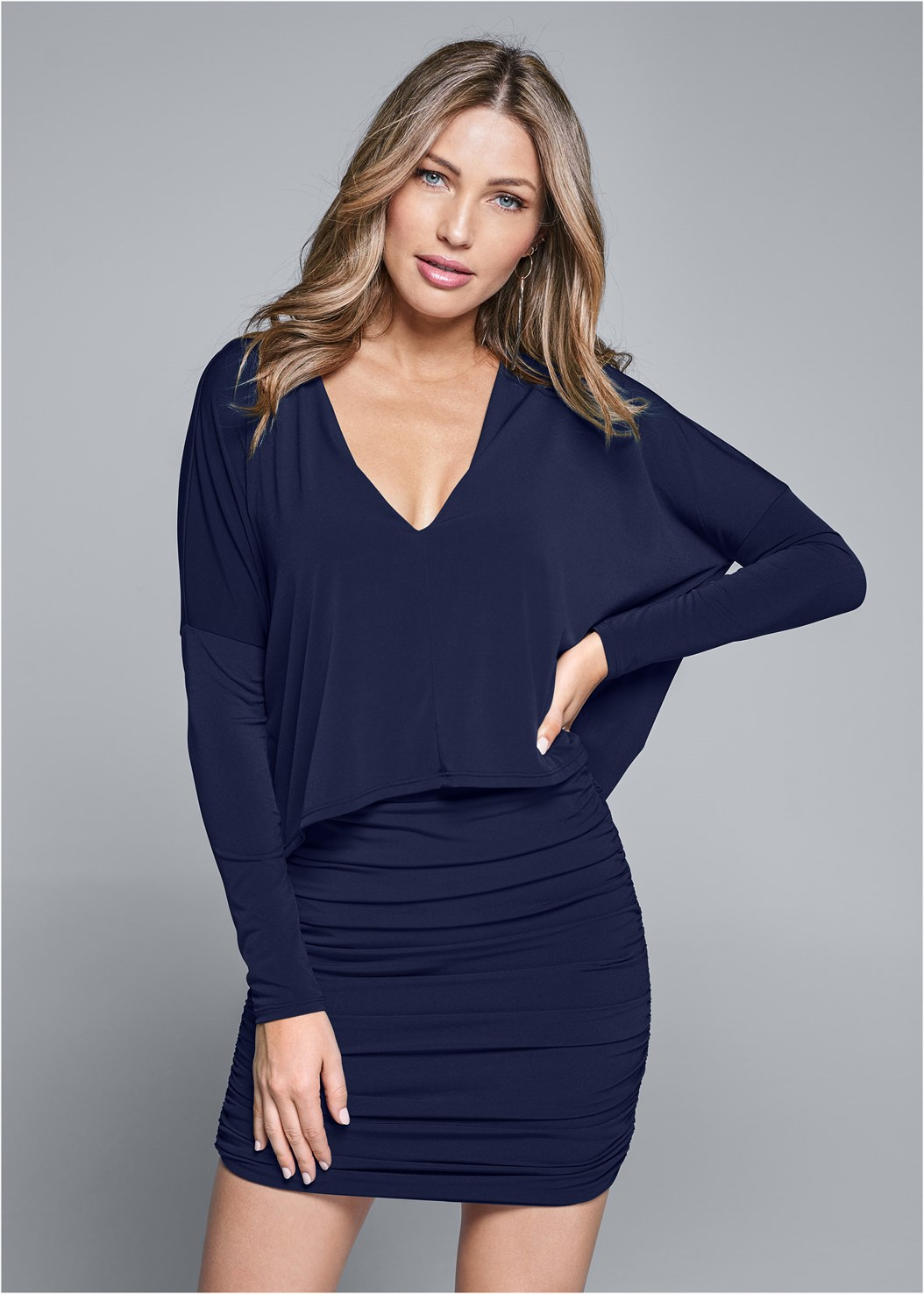 Overlay Detail Casual Dress,Seamless Lace Comfort Bra,Slouchy Mid-Calf Boot