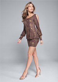 Alternate View Cold Shoulder Shimmer Dress