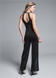 Back View Embellished Trim Jumpsuit
