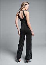 Back View Embellished Trim Jumpsuit