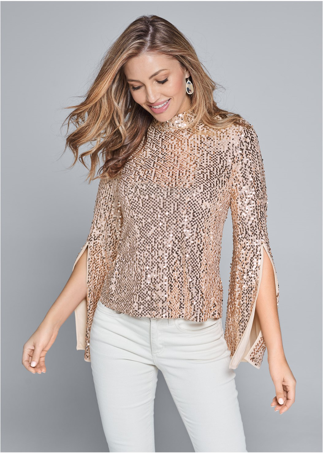 Sequin Mock Neck Top,Mid Rise Color Skinny Jeans,Ankle Strap Heels