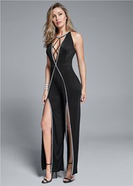 Front View Embellished Trim Jumpsuit