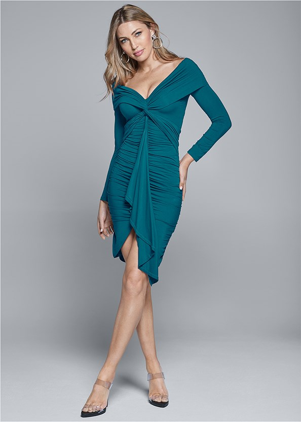 Twist Detail Bodycon Dress,Strapless Bra With Geo Lace,Lucite Strap Heels,Knot Hoop Earrings