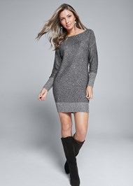 Alternate View Shimmer Detail Sweater Dress