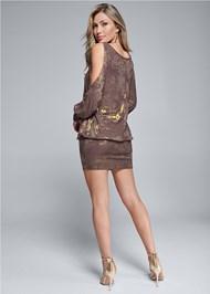 Back View Cold Shoulder Shimmer Dress